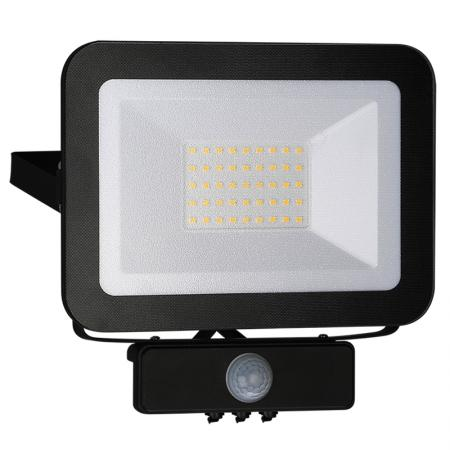 LED HQ reflektor 30W+PIR IP65 szenzor/4000K/BK/PS - LF2023S