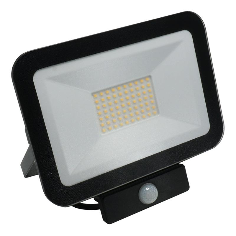LED HQ reflektor 50W+PIR IP65 szenzor/4000K/BK/PS - LF2024S