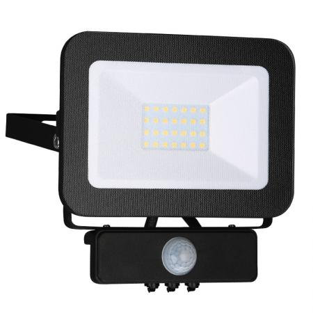 LED HQ reflektor 20W+PIR IP65 szenzor/4000K/BK/PS - LF2022S